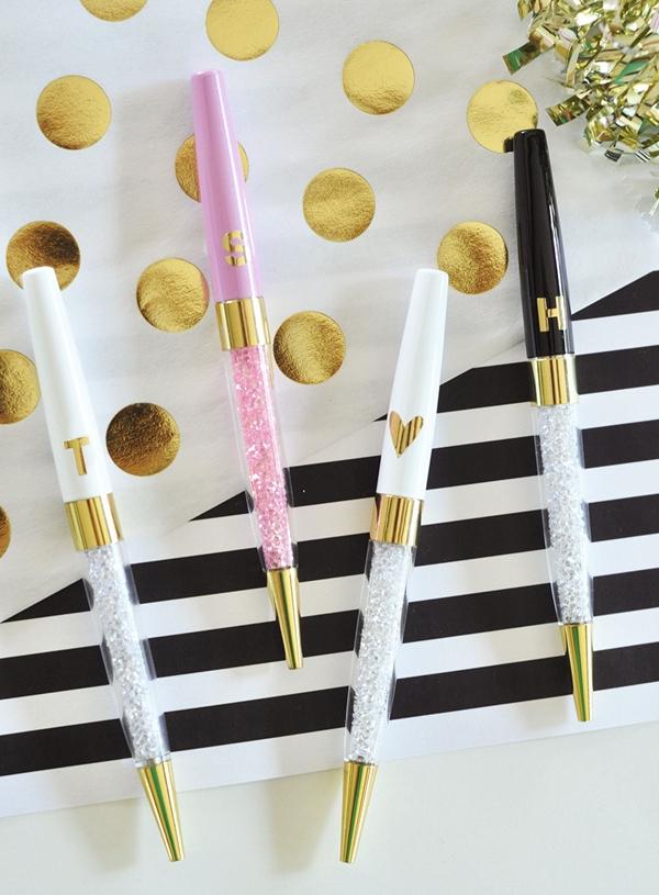 Event Blossom Gold Monogram Glossy Pens (Set of 3) (3 Colors)