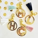 Event Blossom Gold-Mirrored-Acrylic Monogram Keychain with Tassel