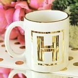 Event Blossom Gold Monogram Gold-Rimmed Ceramic Coffee Mug