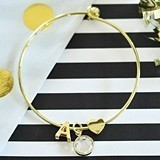 Event Blossom 18k-Gold-Plated Bracelet w/ Monogram, Heart Charm & Gem