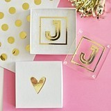 Event Blossom Gold Monogram Coasters with Gift-Box (Set of 2)