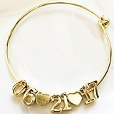 18k-Gold-Plated Date Bracelet with Numbers and Hearts Charms