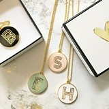 Event Blossom Gold Vinyl Monogram Round Necklace