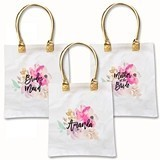 Personalized Floral Watercolor Motif Tote Bag w/ Metallic Gold Handles