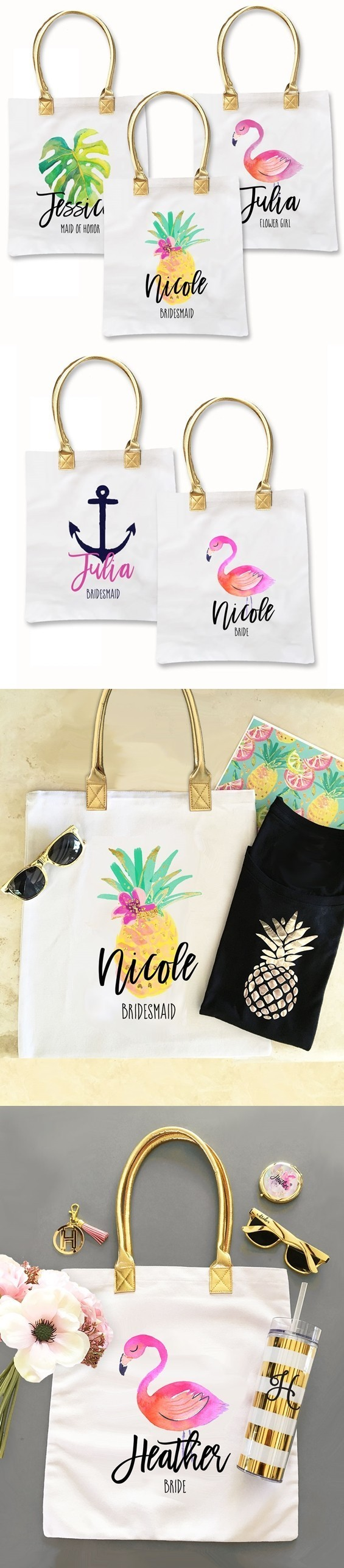 Personalized Tropical Beach Heavyweight-Canvas Tote Bag (4 Designs)