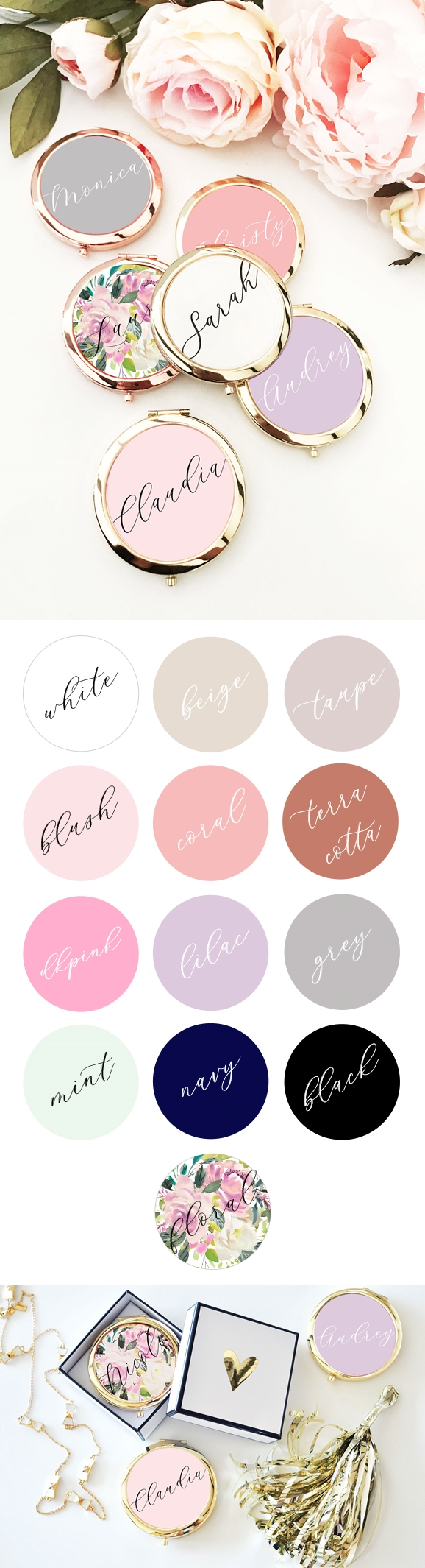 Event Blossom Personalized Color Background Compact with Script Name