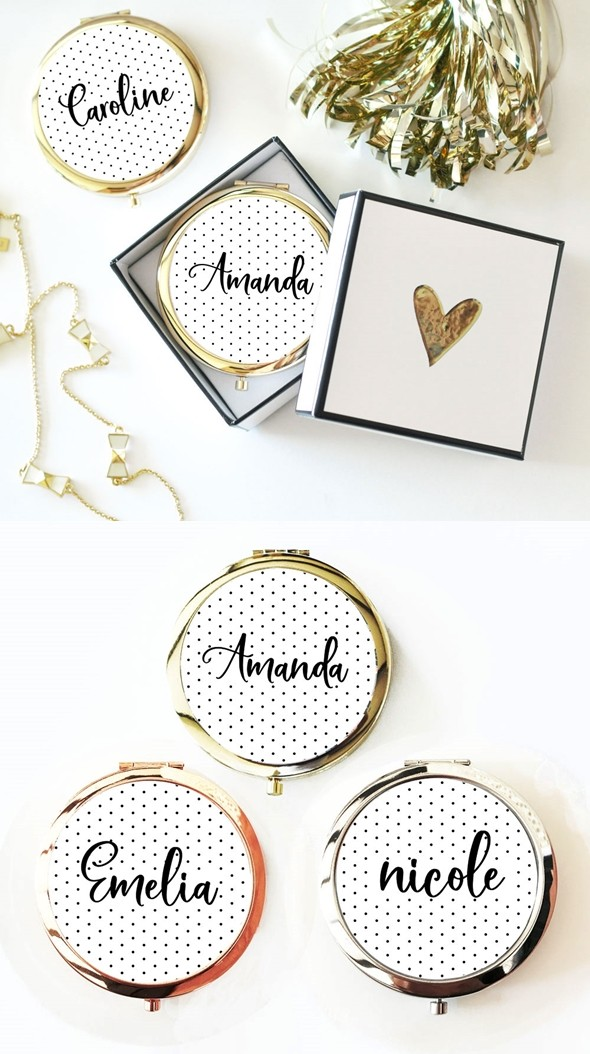 Event Blossom Personalized Polka Dot Compact with Modern Script Name