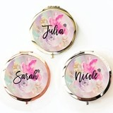 Event Blossom Floral Compact Mirror with Modern Script Name