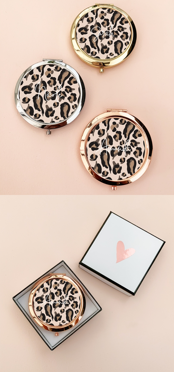 Event Blossom Personalized Leopard Print Compact with Script Name