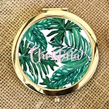 Event Blossom Palm Leaf Compact Mirror with Pretty Pink Script Name