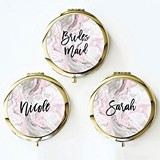 Pink Marble Motif Compact Mirror with Modern Script Name