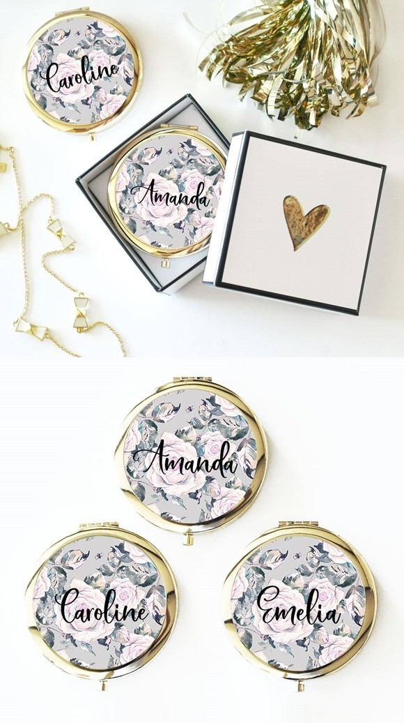 Personalized Rose Garden Compact with Modern Script Name