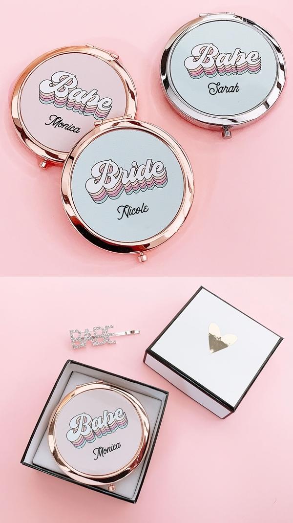 Event Blossom Personalized Retro Babe or Bride Compact w/ Script Name