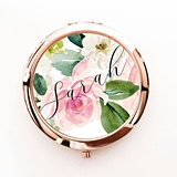 Event Blossom Spring Rose Motif Compact Mirror with Modern Script Name