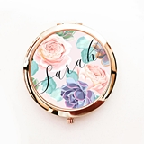 Succulent Design Compact Mirror Personalized with Script Name