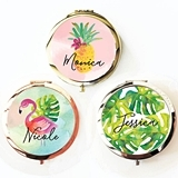 Event Blossom Tropical Beach Compact Mirror with Script Name