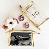 Event Blossom Personalizable Clear Vinyl Cosmetics Bag with Gold Edges