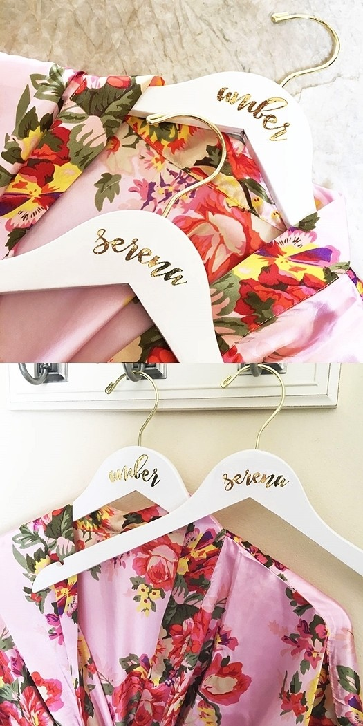 Event Blossom Personalized Bridesmaid White Hardwood Hanger