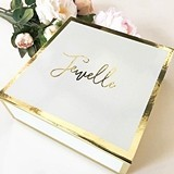 Event Blossom Personalized Gold-Bordered White Gift Box