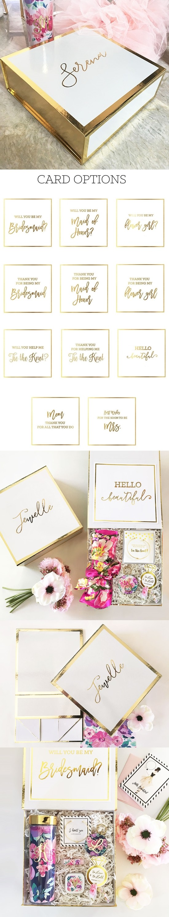 Event Blossom Personalized Gold-Bordered White Gift-Box w/ Insert Card