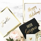 Personalized Gold-Bordered White Holiday Gift Box with Insert Card