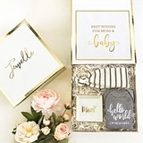 Gift Set for New Mom and Baby in Personalized White & Gold Gift Box