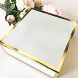 Event Blossom Stylish Gold-Bordered Glossy White Blank Gift-Box