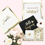 Will You Be My Valentine? Gift Set in Personalized Gold-Foil Gift-Box