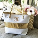 Monogrammable Gold-Striped White Tote Bag with Metallic Gold Handles