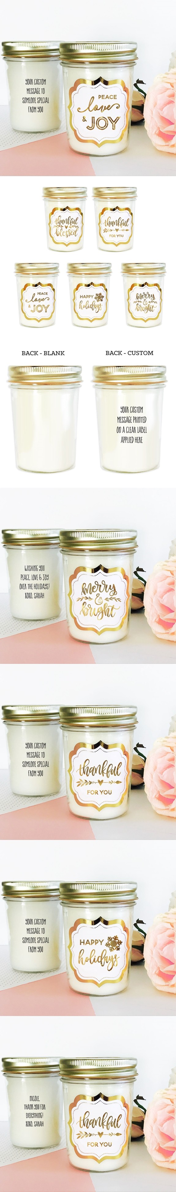 Event Blossom Personalizable Holiday Mason Jar Candle (5 Designs)