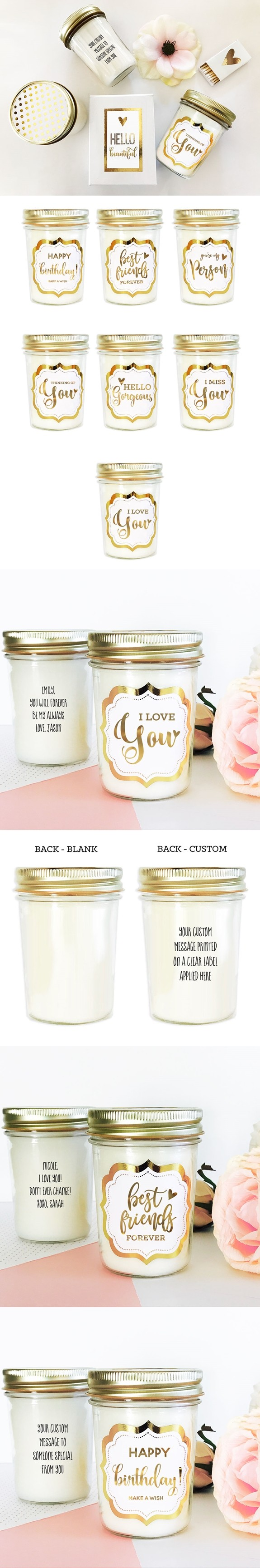 Customized Gold Foil Label Theme Mason Jar Candle in Gift-Box