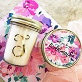 Monogrammed Mason Jar Candle with Bridal Party Invite on Floral Lid