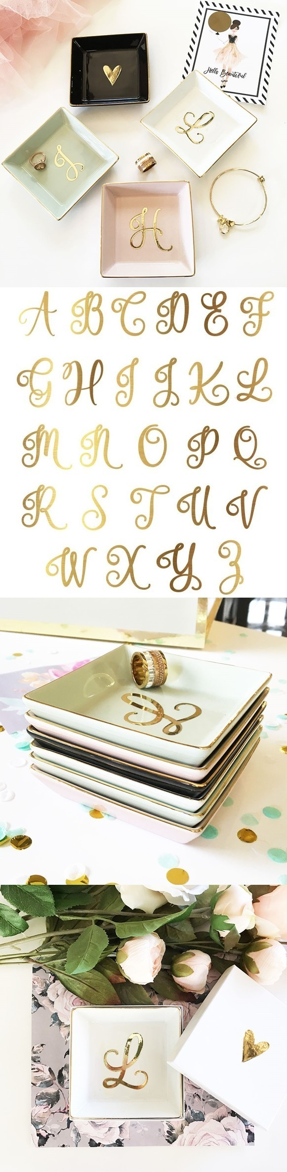 Event Blossom Ceramic Ring Dish with Gold Script Monogram (4 Colors)