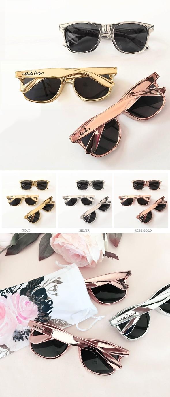 Event Blossom Wayfarer-Replica Metallic-Shade Bachelorette Sunglasses