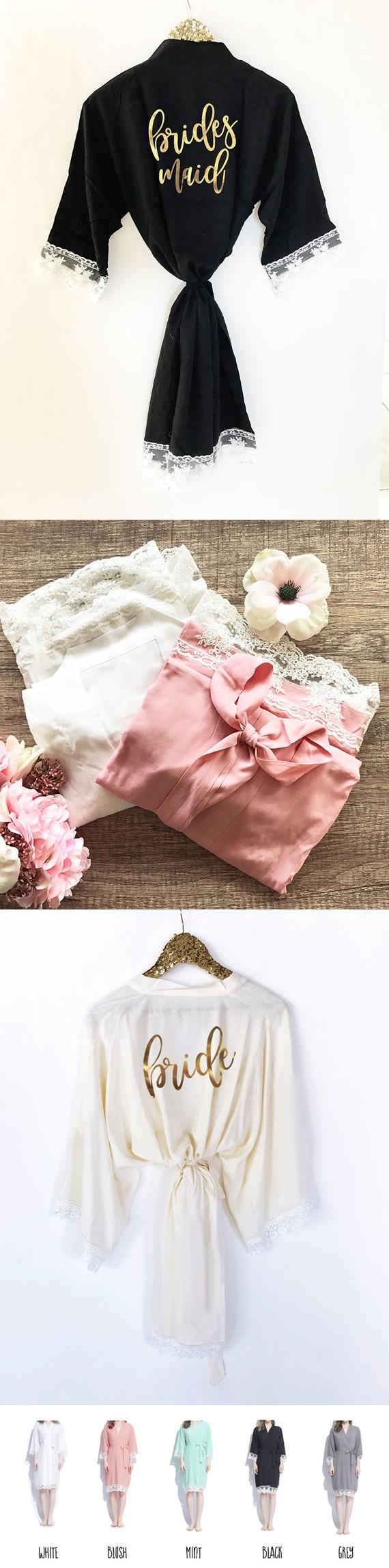 Event Blossom Bridal Party Cotton Lace Robes (5 Colors)