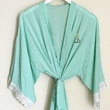 Event Blossom Cotton Lace Robe w/ Gold Foil Script Monogram (5 Colors)