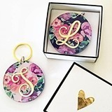 Event Blossom Floral Keychain with Gold Foil Script Monogram