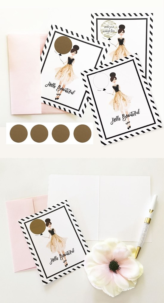 """Event Blossom """"Hello Beautiful"""" Scratch-Off Cards (Set of 4)"""