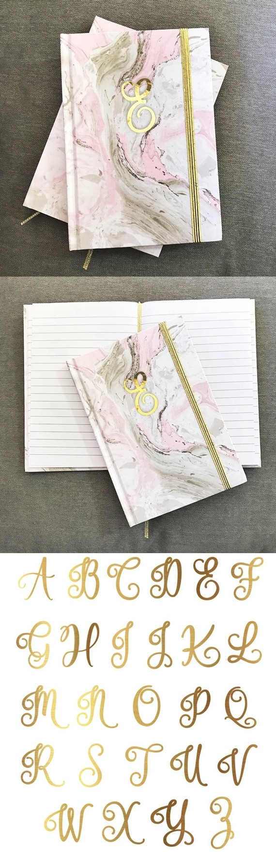 Event Blossom Gold Script Monogram Pink Marble Background Journal