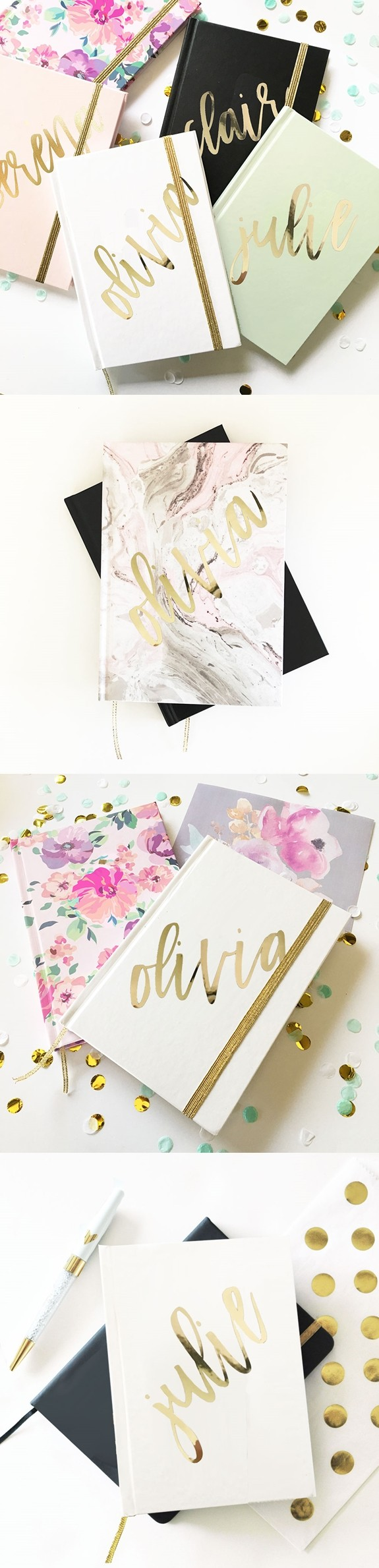 Event Blossom Metallic Gold Script Name Journal (6 Colors/Designs)