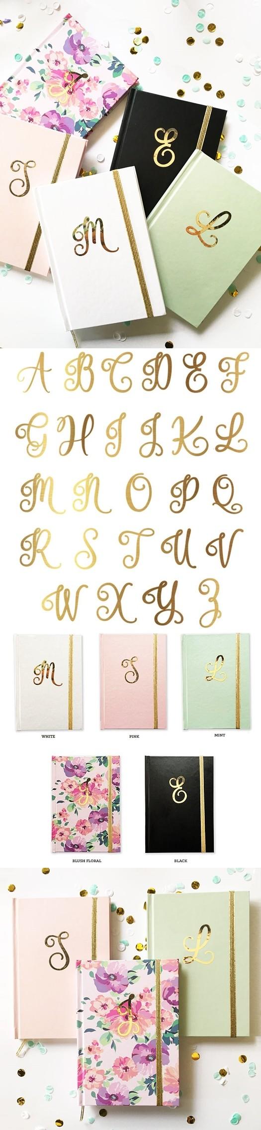 Event Blossom Metallic Gold Script Monogram Journal (5 Colors)