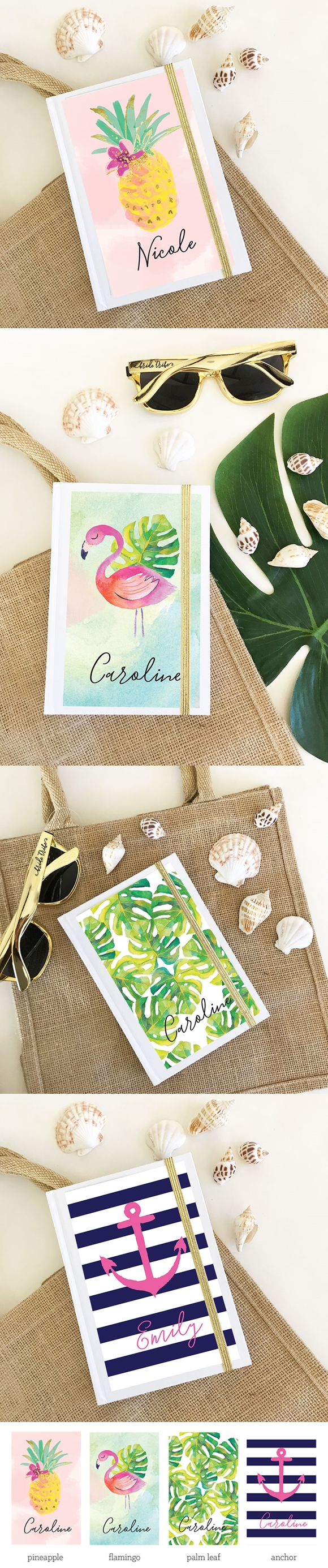 Event Blossom Personalized Tropical Beach Journal (4 Designs)