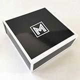 Event Blossom White-Bordered Glossy Black Monogram Gift Box