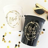 "Gold-Printed ""Bride Tribe"" Plastic Party Cups (Set of 10)"