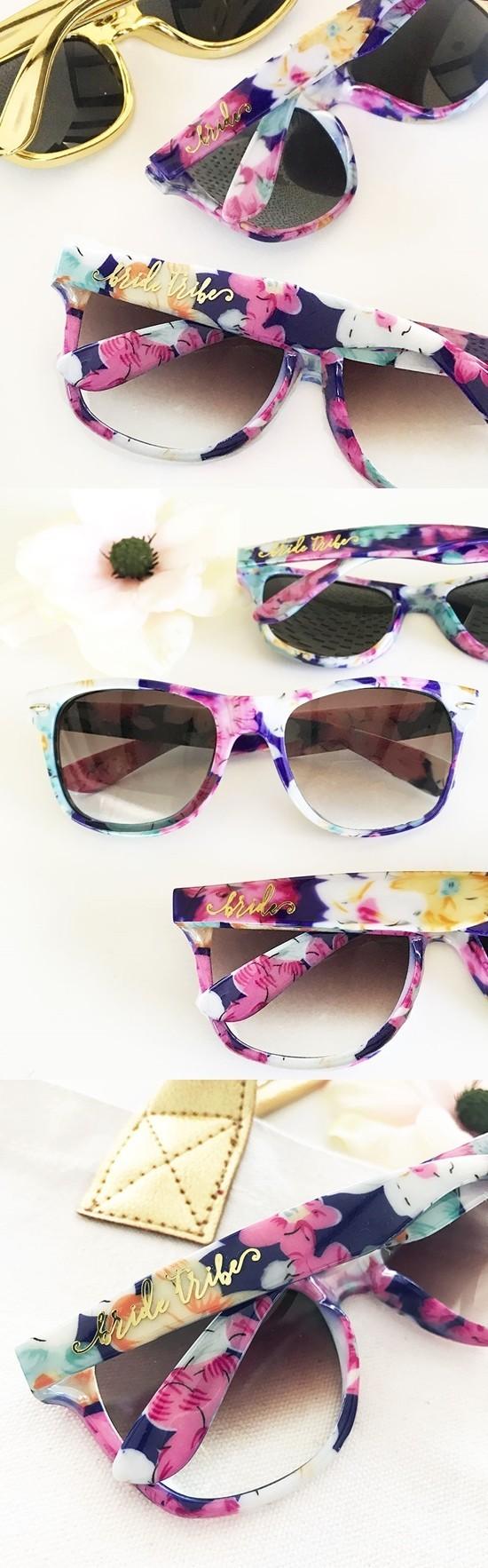 """Event Blossom Wayfarer-Like """"Bride Tribe"""" Floral Sunglasses"""