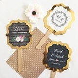 Event Blossom Personalized Floral Garden Gold Paddle Fans