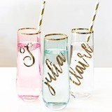 Event Blossom Personalized Script Stemless Gold-Rimmed Glasses