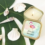 Event Blossom Personalized Tropical Beach Gold Square Candle Tins
