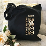 Event Blossom Personalizable Graduation Black or White Tote Bag