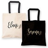 Tote Bag with Custom Name & Small Vine Design in Gold Foil (2 Colors)